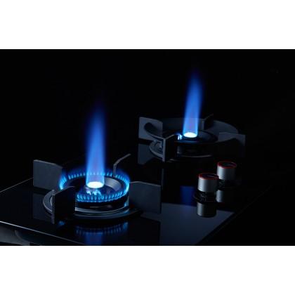Lebensstil Kolllektion 86 Series Volcano Wok Glass 2 Burners Gas Hob LKGH-8602MB (Stainless Steel)
