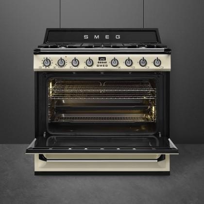 Smeg Victoria Series Combi Set - KT90PE Cooker Hood & TR90P9 Victoria Gas Range Cooker (Cream)