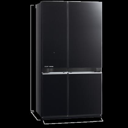 Mitsubishi MR-L78EN-GBK 4 Door 710L Neuro Inverter French Door with Bottom Freezer Refrigerator (Glass Brilliant Black)