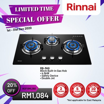 Rinnai RB-3HG 80cm 3 Burner Built-in Gas Hob