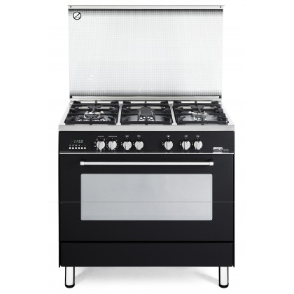 Delonghi PEMA-9651 Professional Dual Fuel Range Cooker 5 Burners 100L Oven (Black) Made in Italy