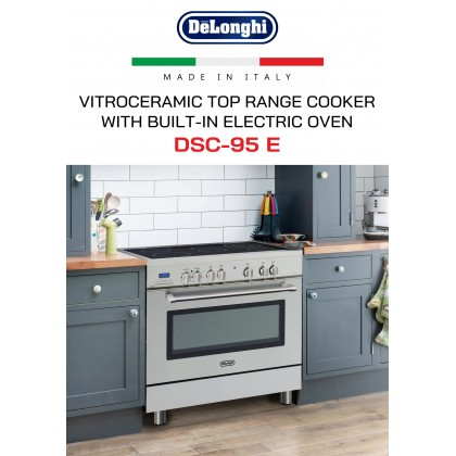 Delonghi DSC-95E Professional Electric Range Cooker 5 Vitroceramic Burners 100L Oven (Stainless Steel) Made in Italy