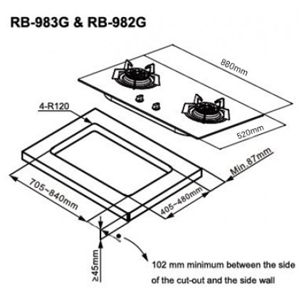 Rinnai RB-982G 2 Burner Built-in Flexi Gas Hob 4.5kW (Glass)