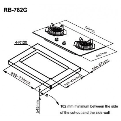 Rinnai RB-782G 2 Burner Built-in Flexi Gas Hob 4.5kW (Glass)