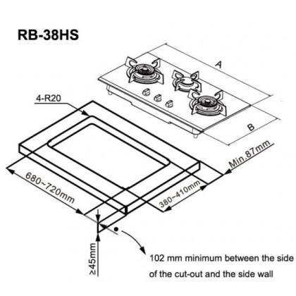 Rinnai RB-38HS 3 Burner Built-in Flexi Gas Hob 4.5kW (Stainless Steel)
