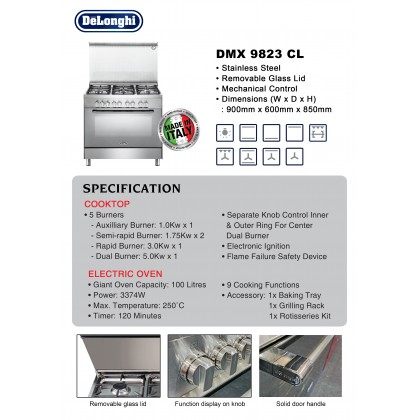 [Made in Italy] Delonghi DMX-9823 CL Professional Dual Fuel Range Cooker 5 Burners 100L Oven (Stainless Steel)